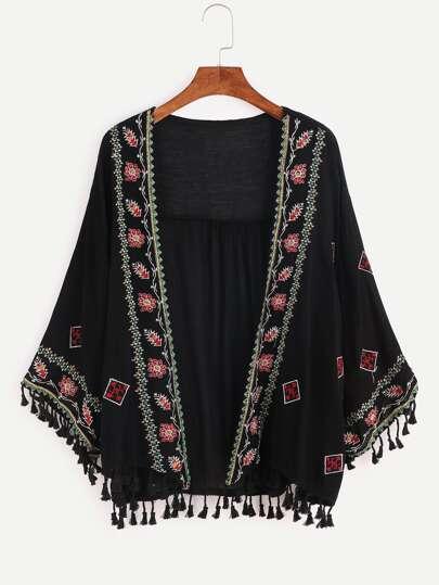 Kimono con bordado y flecos - negro
