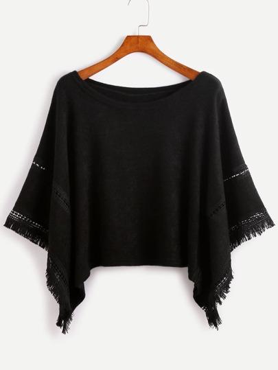 Poncho Pullover mit Quaste Saum Kontrast Crochet -schwarz