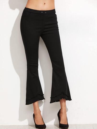 Black Frayed Hem Crop Flared Pants