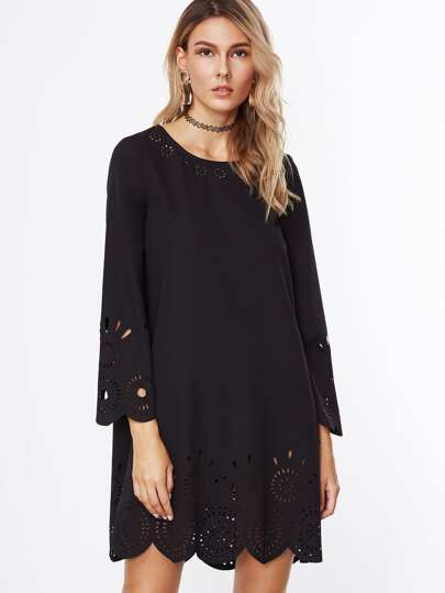 Black Laser Cutout Scallop Trim Tunic Dress