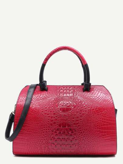 Red Croc Embossed Leather Front Zipper Bowling Bag