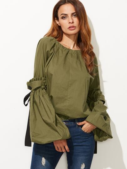 Olive Green Contrast Drawstring Detail Lantern Sleeve Blouse