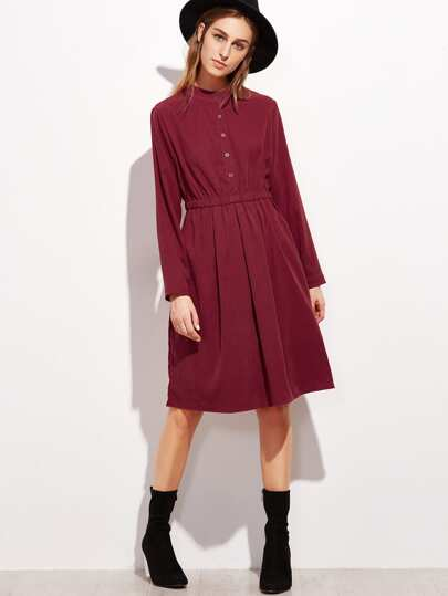 Burgundy Elastic Waist Pocket A-Line Shirt Dress