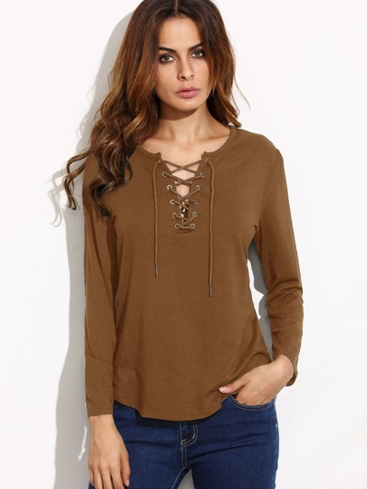 Khaki Eyelet Lace Up Curved Hem T-shirt
