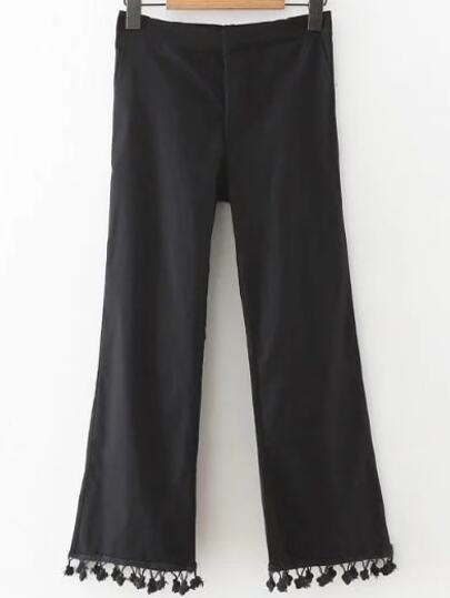 Black Pom Pom Hem Crop Pants