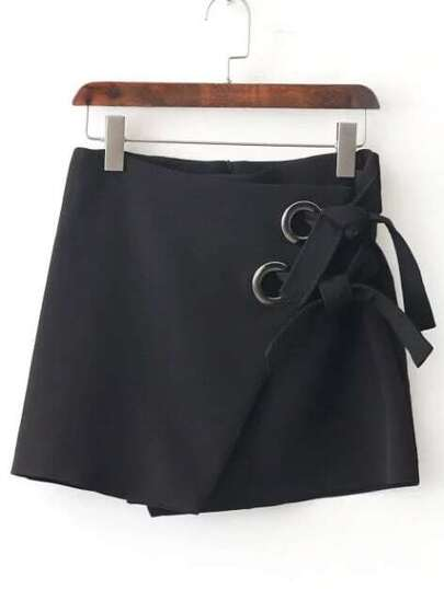 Black Eyelet Tie Wrap Skirt