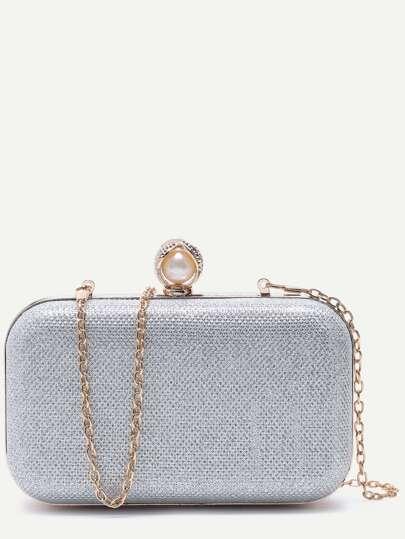Silver PU Faux Pearl Crossbody Chain Bag