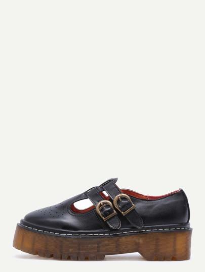 Black PU T Strap Rubber Sole Flatform Shoes