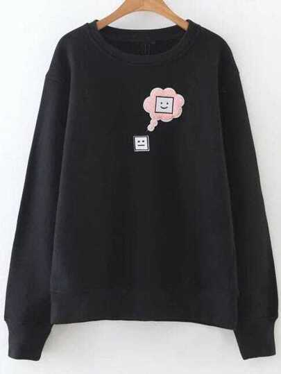 Black Face Patch Drop Shoulder Sweatshirt