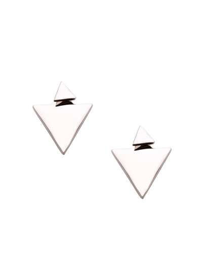 Silver Plated Triangle Stud Earrings