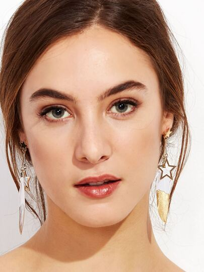 Gold Plated Star Feather Drop Earrings