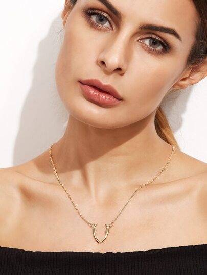 Gold Plated Antler Pendant Necklace
