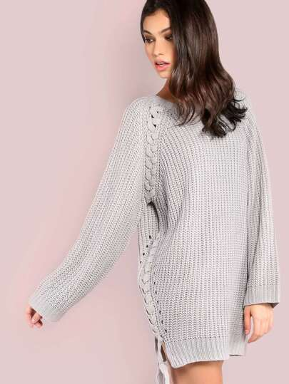 Side Lace Up Waffle Knit Sweater GREY