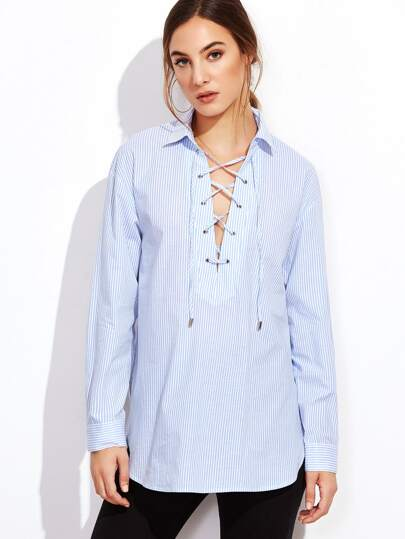 Blue Vertical Striped Lace Up Blouse
