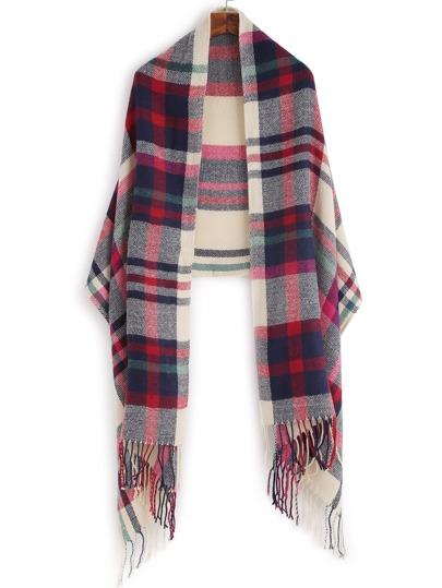Красно-бежевый клетчатый шарф шалью с бахромой