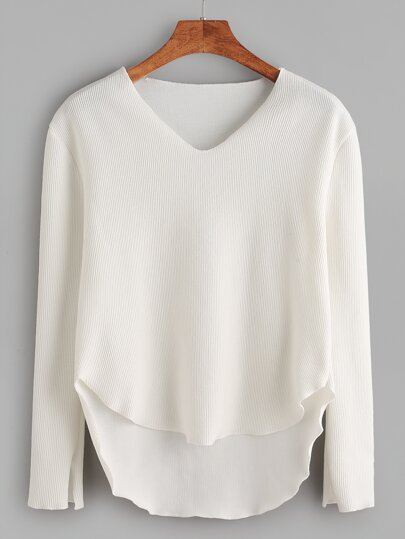 White V Neck High Low Curved Hem Sweater