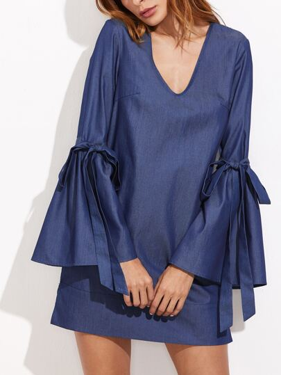 Blue Bow Tie Bell Sleeve Chambray Dress
