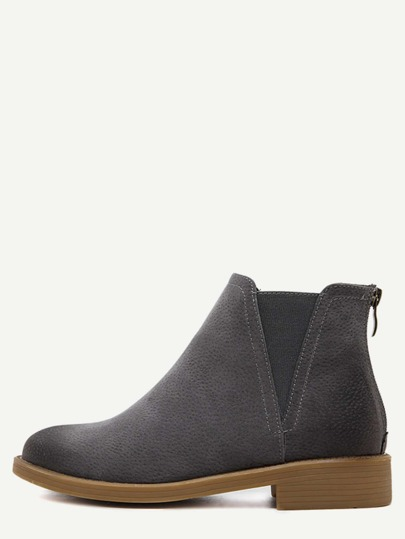 Grey Back Zipper Distressed Chelsea Boots