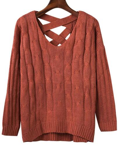 Brown Criss Cross Back V Neck Sweater