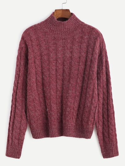 Burgundy Mock Neck Cable Knit Sweater
