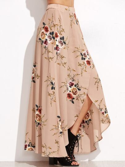 Pink Rose Print Asymmetric Wrap Maxi Skirt