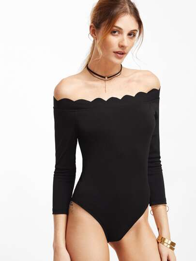 Scallop Off Shoulder Bodysuit