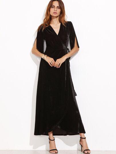 Black Slit Half Sleeve Velvet Wrap Dress