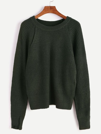 Army Green Contrast Edge Drop Shoulder Seam Sweater