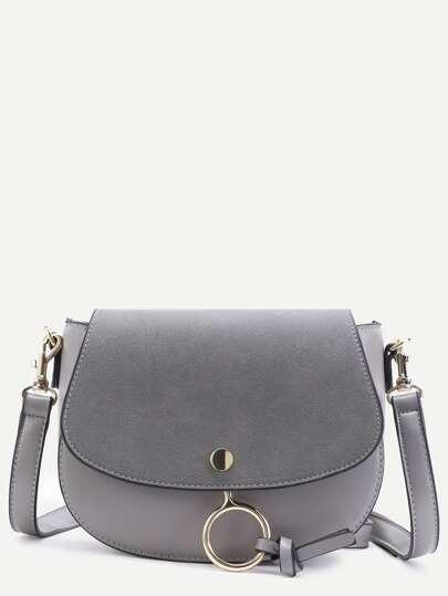 Grey Faux Leather Metal Ring Flap Saddle Bag