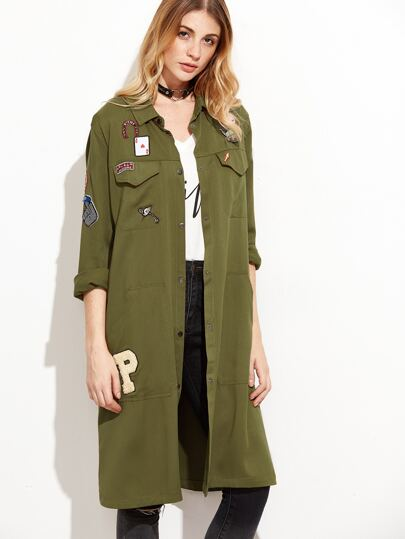 Army Green Embroidered Patches Curved Hem Coat