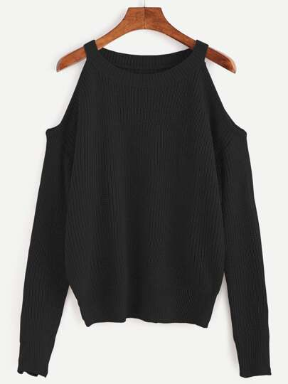 Black Open Shoulder Knit Sweater