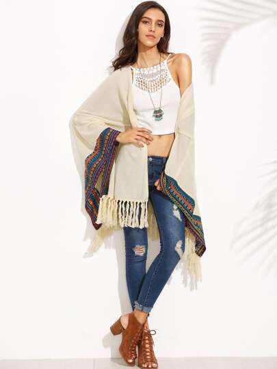Beige Knotted Fringe Trim Embroidered Coat
