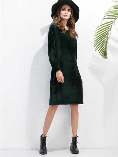 Dark Green Slit Side Velvet Dress