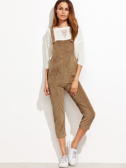 Khaki Pockets Overall Jumpsuit