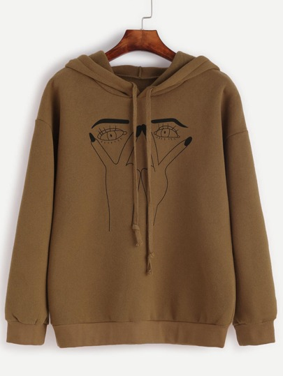 Khaki Eye Print Drawstring Hooded Sweatshirt