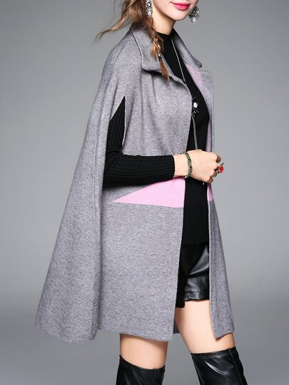 Abrigo con diseño de capa y estampado de estrella - gris