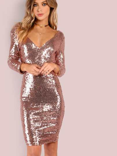 3/4th Sleeve Low V Sequin Bodycon Dress ROSE GOLD