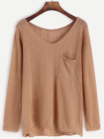 Khaki V Neck High Low Knit T-shirt