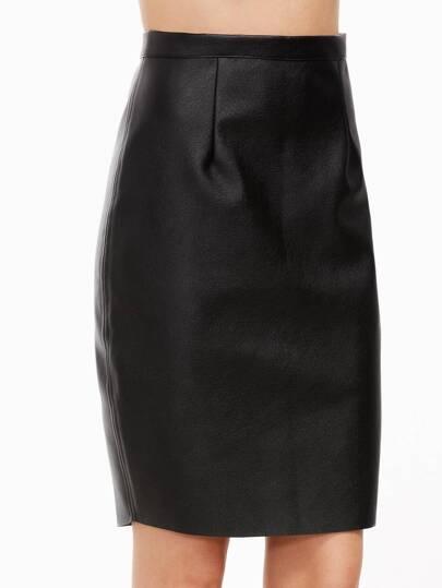 Black Zipper Back Metal Skirt