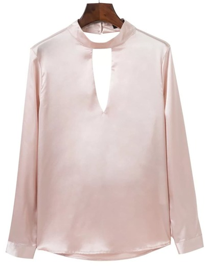 Pink Choker Neck Open Back Blouse