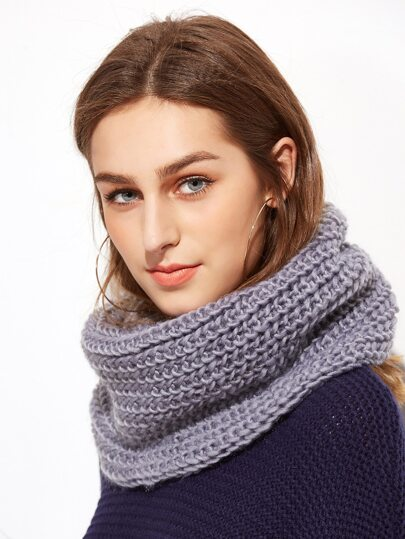Grey Textured Knit Scarf