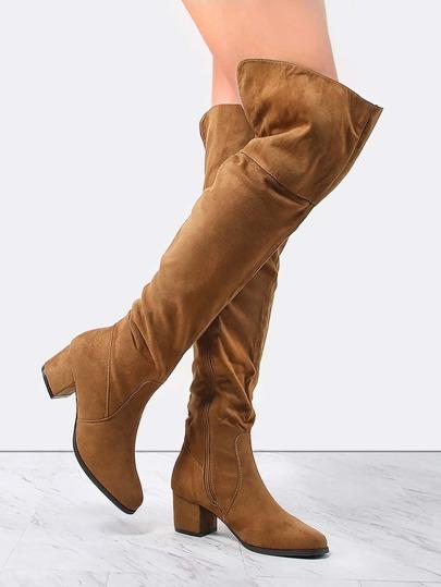 Wide Top Block Heel Thigh Boots TAN