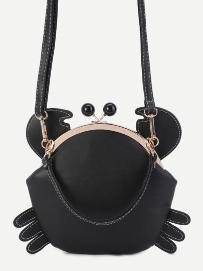 Cute Black PU Crab Bag With Convertible Strap