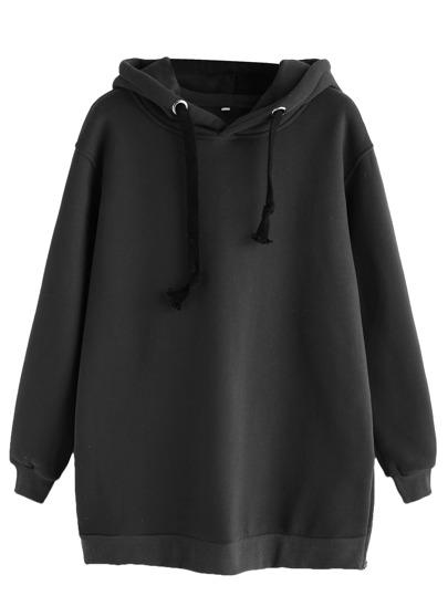 Black Zipper Side Drawstring Hooded Sweatshirt