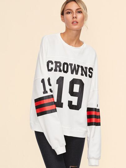 White Varsity Print Sweatshirt