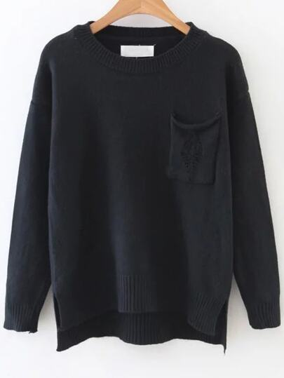 Black Ripped Dip Hem Sweater With Pocket