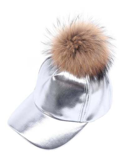 Silver Faux Leather Detachable Pom Pom Baseball Cap