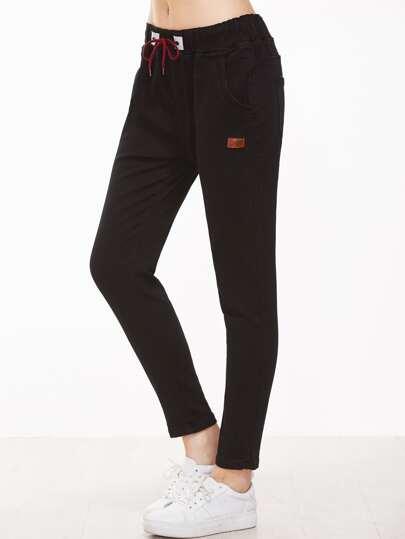 Black Patch Detail Drawstring Waist Pants