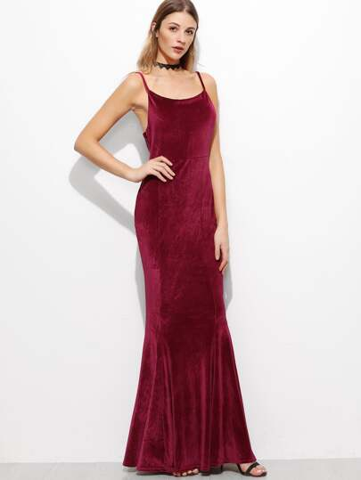 Burgundy Spaghetti Strap Corduroy Maxi Dress