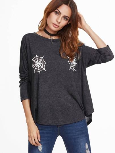 Dark Grey Spider Web Print Drop Shoulder Oversized T-shirt